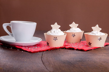New Year celebration muffin with coffee cup