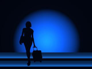 Maleta, viaje, equipaje, fondo azul, esfera, silueta, persona, mujer, fondos