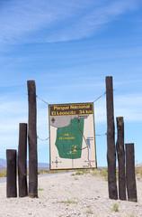 Welcome wooden sign at El Leoncito, Argentina