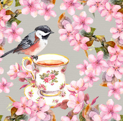 Tea cup, bird and blooming flowers. Seamless floral pattern. Watercolour art on white background