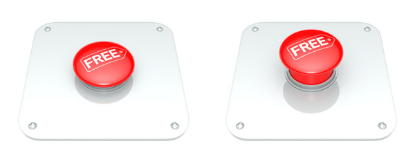 Red Free Button, isolated on white background.