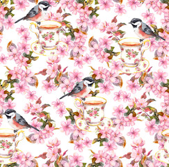 Tea cup, birds and flowers. Seamless floral pattern. Watercolor design on paper background
