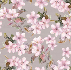 Pink apple, cherry (sakura) blooming flowers. Seamless floral tiled swatch. Watercolor on paper background
