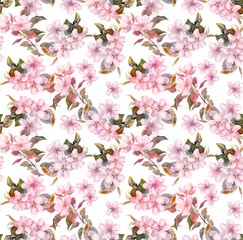Pink blooming apple, cherry flowers. Seamless floral pattern. Watercolor on white background