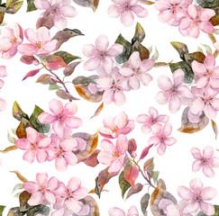 Pink fruit (apple, cherry, sakura) flowers. Seamless floral template. Aquarelle on white background