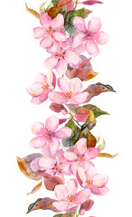 Fruit tree (apple or cherry) flowers. Seamless floral strip border. Watercolor painted banner