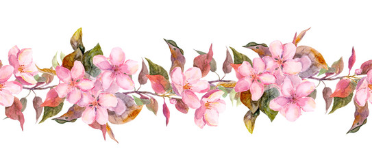 Fruit tree (apple or cherry) flowers. Seamless floral strip border. Botanic watercolor painted banner