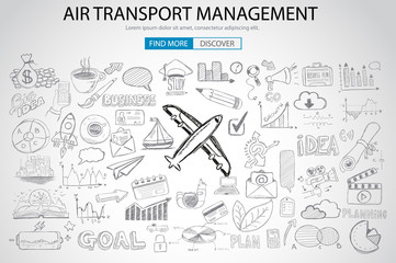 Air Transport Management Concept with Doodle design style