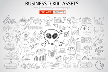 Business Toxic Assets concept with Doodle design style