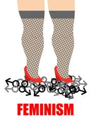 Feminism. Womens feet trampling men sign. Illustration for women