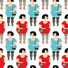 Prostitute seamless pattern. Prostitutes in background. Many Gir