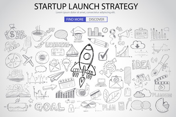 Strartup Launch Strategy Concept with Doodle design style