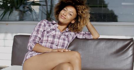 Happy Black Woman Looking At Camera