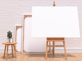 Mock up canvas frame with plant, easel, floor and wall. 3D render illustration