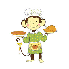 Thanksgiving day. Monkey lady holding turkey and pumpkin pie.