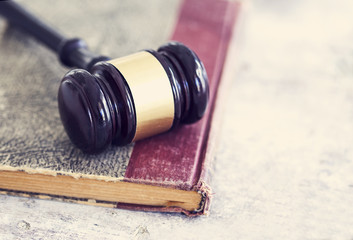 Law concept, gavel, book