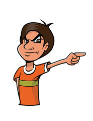 cartoon vector illustration of an Indian boy pointing