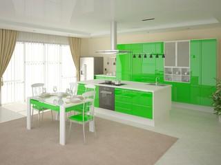 Modern kitchen with bright green furniture .