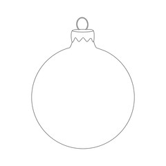 Christmas bauble icon silhouette, symbol, design. Winter illustration isolated on white background.