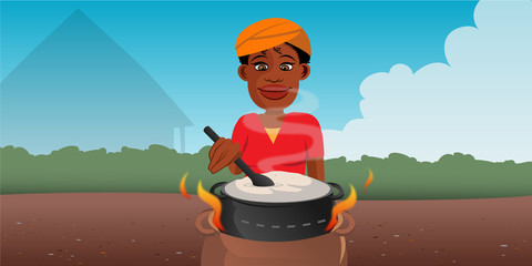 cartoon vector illustration of an African woman cooking