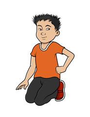 cartoon vector illustration of an Asian boy sitting