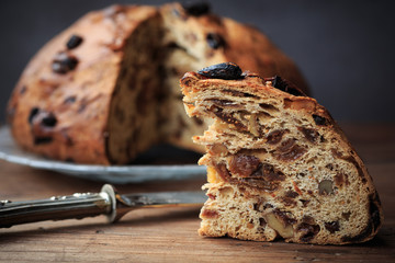 Bisciola, traditional nuts and figs bread for Christmas of Valtellina valley, Italy