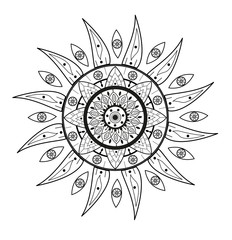 Doodle sun vector isolated on white, sole stilizzato decorato vettoriale