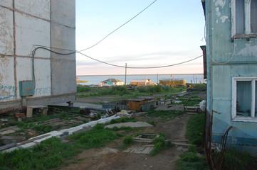 Houses of Chersky town at Kolyma river coast