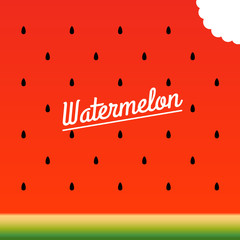 Ripe watermelon bitten piece pattern. Vector illustration.