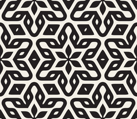 Vector Seamless Black and White Rounded Floral Star Oriental Hexagonal Pattern