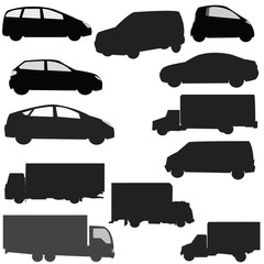 Collection silhouette of car on a white background