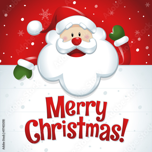 Merry christmas santa claus with big white sign in red background