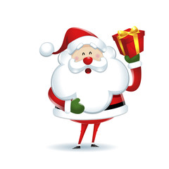 Santa Claus showing gift box on white background