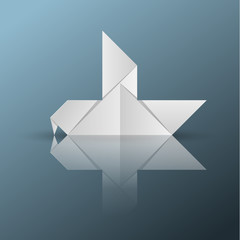 Origami dove. Bird icon.