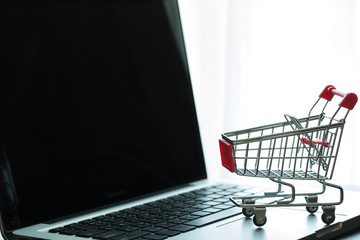 Mini Red Shopping Cart On Laptop : Online Shopping Concept