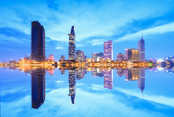 Beautiful view of Ho Chi Minh city riverside at blue hour