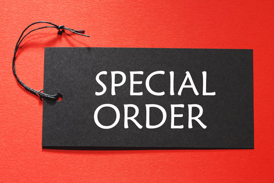 Special Order text on a black tag