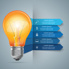 Abstract 3D digital illustration Infographic. Bulb icon. Light icon.