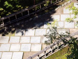 Stone path in a Japanese garden - in Seisonkaku villa, Kanazawa, Japan