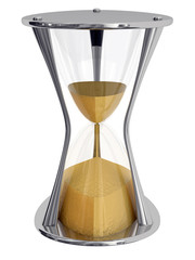 Metalic hourglass isolated on white background
