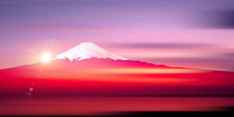 富士山 日の出 正月 背景