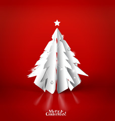 Merry Christmas greeting card with origami Christmas tree, vecto
