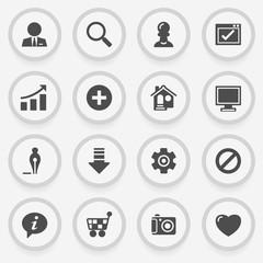 Basic black icons on stickers. Flat design.