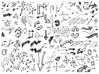 Drawing doodle pattern seamless with arrow sketch