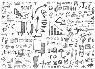 doodle pattern seamless with business sketch