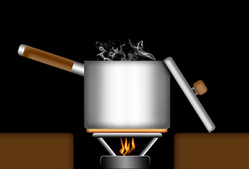 Illustration of a boiling pot or sauce pan on a gas fire.