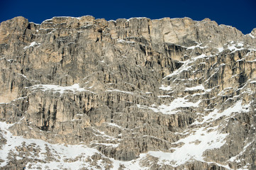 dolomites mountain snow landscape in winter