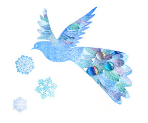 Abstract bird isolated on white background. Handmade style bird with leaves and snowflakes