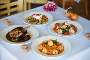 four delicious dishes at the restaurant