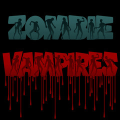 Zombie and vampire party invitation background. Vampires and Zombie Text streaks of blood. Zombie and vampire in different poses into Huge Letters isolated on the black background. Banner. Flat style.